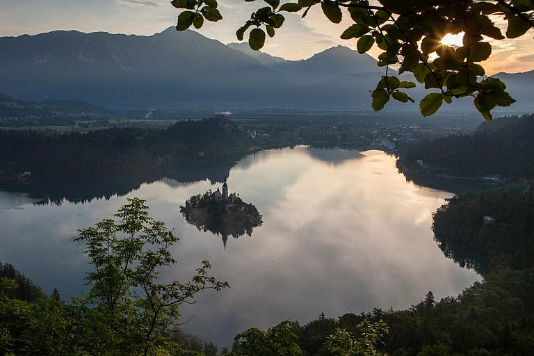 sunrise over bled lake