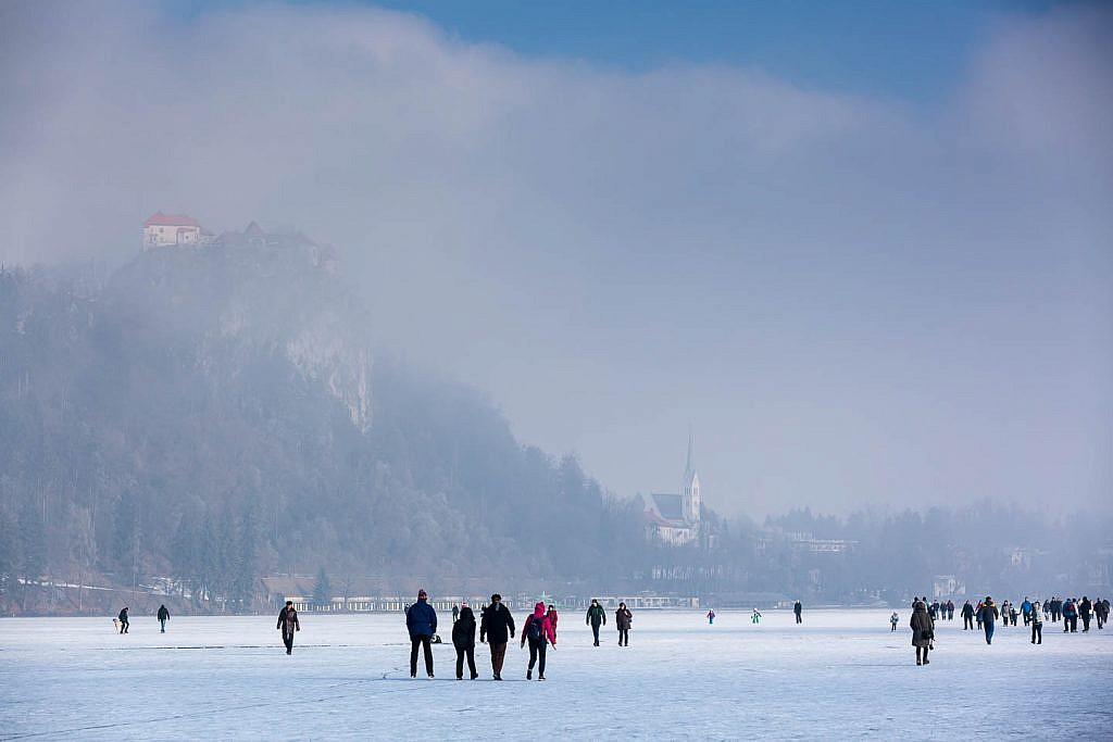 bled castle in winter